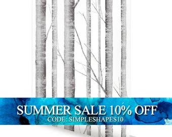 Birch Tree Wallpaper Removable Peel & Stick Fabric Wallpaper Repositionable