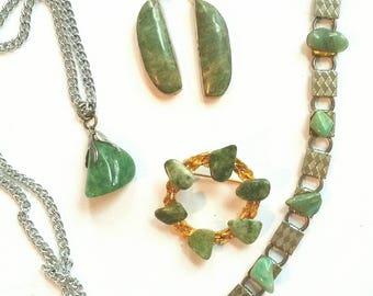 Instant JADE JEWELRY Collection Vintage GREEN Jade Lot Gift Set 60s 70s Boho Hippie Earrings Bracelet Wreath Brooch Necklace Pendant Broach