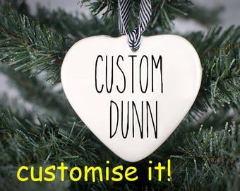 Rae Dunn Inspired, Valentine Gift, Rae Dunn, Rae Dunn Ornament, CUSTOM Ornament, Porcelain Ornament, Wedding Ornament, Ceramic Heart