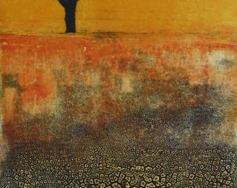 Parched Earth- Tree, scorched earth, sunset,red sky