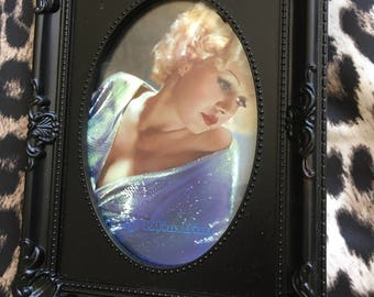 Jean Harlow colour print in a black oval frame 6x4""