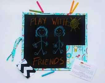 Blue Kid's Travel Chalkboard - Kid's Travel Chalkboard - Blue Kids Chalkboard - Kid's Chalkboard Playtime Theme - Kid's Travel Toys
