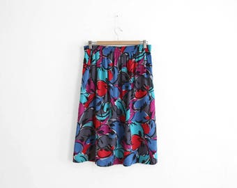 Vintage Skirt - 100% Rayon - Abstract Flower Print