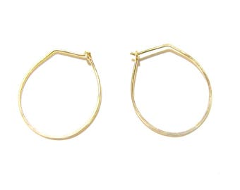 Drop-shaped gold-filled hoop earrings  Minimalist closed gold-filled hoops