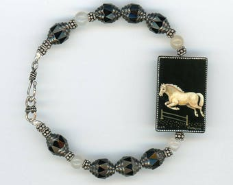 Russian Hand-Painted, Russian Pendant, Leaping Horse Bracelet, Horse Bracelet, Black Onyx, Unique Bracelet, Horse Lovers, Horse Jewelry