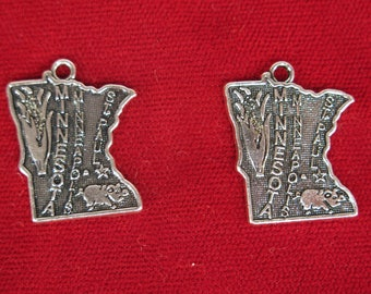 """BULK! 30pc """"Minnesota"""" charms in antique silver style (BC1291B)"""