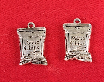 """5pc """"Potato chips"""" charms in antique silver style (BC1378)"""
