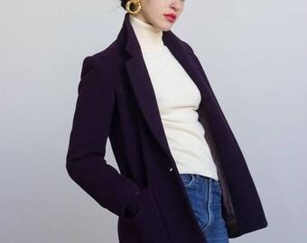 1980s Darkest Plum Wool Blazer // Size XS to Small