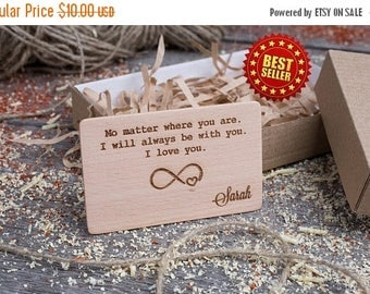 ON SALE TODAY Wood Wallet Insert Card, Beech Custom Engraved Insert card, Personalized Wooden business card, boyfriend gift, wood wedding ta