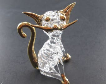 Vintage Glass Cat Figurine Clear w/ Gold Tone Eyes, Ears, Whiskers, Tail & Feet