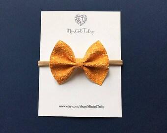Orange Pumpkin Glitter Bow on Headband or Hair Clip Baby Toddler Kids