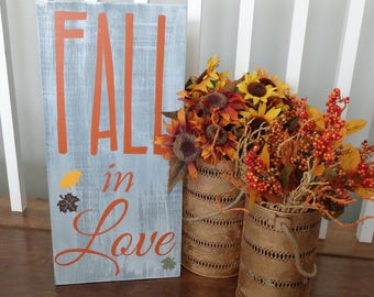 Fall in Love, thanksgiving decor, thanksgiving decal, pumpkin decor, fall decoration, autumn decor, fall decal, love fall, fall sign, leaves