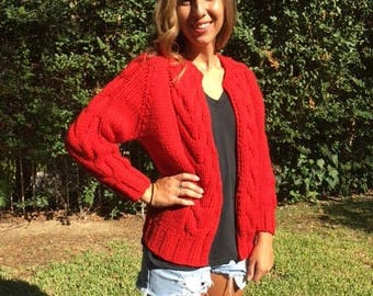 Red cable knit sweater,smalll,S, Hand made ,Vintage