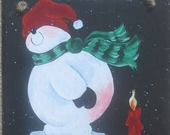 HOTSEAT SNOWMAN SLATE.  Just warming up a bit on a chilly day!