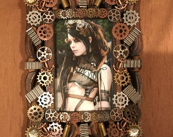 "Exclusive Frame, 4x6"" Steampunk Picture Frame, Picture Frame, Photography, Man, Photo, Photo Frame, Steampunk Frame, Gear Frame, Industrial"