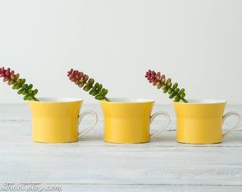 3 Yellow Vintage Coffee Cups -- Mikasa Duplex by Ben Seibel - Mid Century Coffee Mugs - Yellow Kitchen Decor