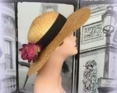 80s Italian Brim Straw Hat - Gorgeous Deep Pink Blooms - Black Grosgrain Ribbon Band - DANIELE MEUCCI - Vintage Straw Hat