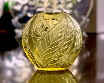 Lalique Filicaria Pillow Vase Yellow Clear & Frosted Crystal Mint Condition