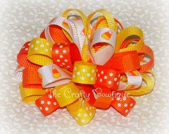 Candy Corn Bow ~ Halloween Hair Bow ~ Yellow Hair Bow ~ Yellow & Orange Bow ~ Orange Hair Bow ~ Candy Corn Headband ~ Polka Dot Hair Bow