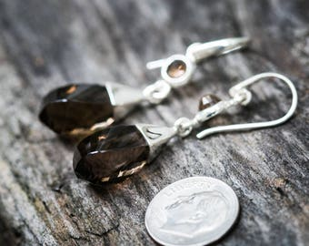 Smoky Quartz Dangle Earrings, Smoky Quartz, Stunning Smoky Quartz Checkerboard Smoky Quartz earrings - Smoky Quartz Dangle Earrings - Dangle