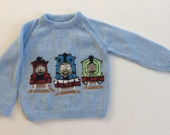 Hand Knitted Thomas and Friends Sweater, Kids, Toddler, Chest 22""
