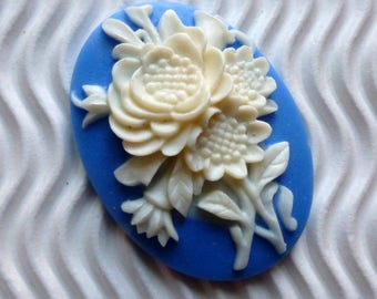 2 * 30 * 40mm blue white flower bouquet ca22 cabochon cameo