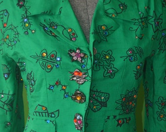 1990s Vintage Todd Oldham Green Silk skirt suit - Size 0/2