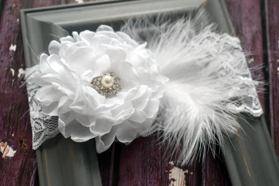 Plush white flower with feathers christening bow - Baby / Toddler / Kids Elastic Hairclip / Hair Barrette / Hairband / Headband