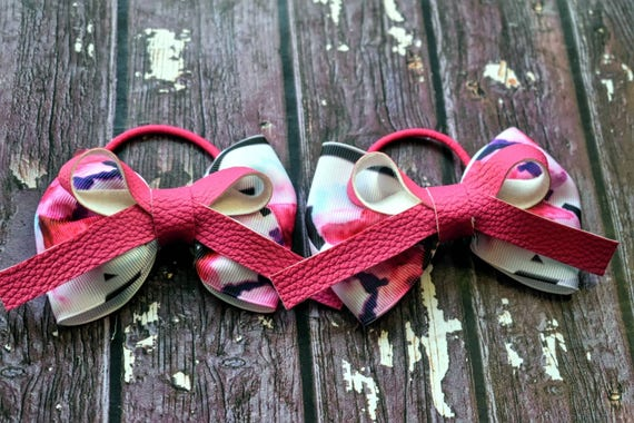 Pair of Pink floral grosgrain and faux leather bows / hair ties / pigtail bows / pony tail  bows / flowergirl bows / birthday bows