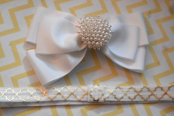 White christening /baptism bow with pearly rhinestone - Baby / Toddler / Girls / Kids Headband / Hairband / Hair bow / Barrette / Hairclip