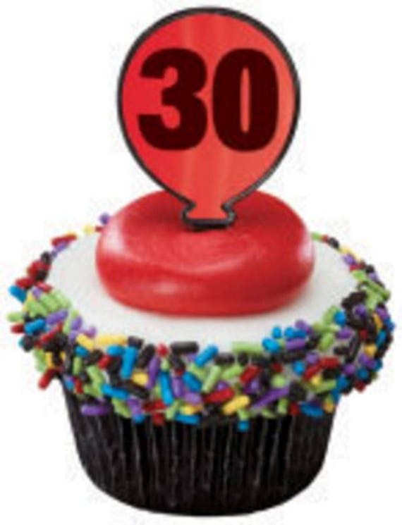 36 30th Birthday Or Anniversary Red Balloon Cupcake Picks Toppers