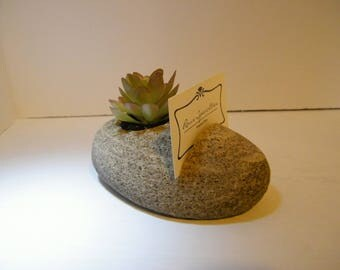 Business Card Holder/Business Card Rock Stand/Desk Accessory/Natural Stone Planter/ Card Holder