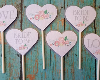 Heart shaped cupcake toppers, Cupcake toppers, bridal shower, wedding, table decor