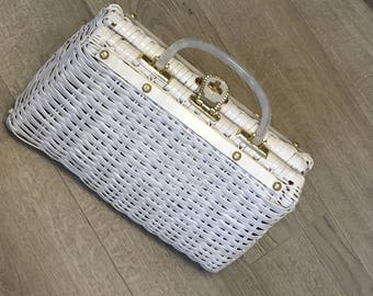 Stunning Original Vintage White Wicker and Mother of Pearl Hand Bag Purse Handmade in British Hong Kong