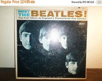 Save 30% Today Vintage 1964 LP Record The Beatles Meet the Beatles Brown Letter Variation Original Plays Well 10290
