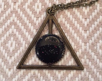 Deathly Hallows Necklace (black glitter)