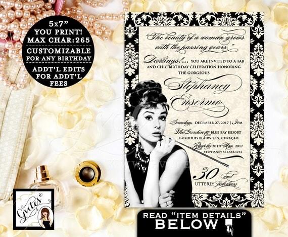 Breakfast at Tiffany's 30th BIRTHDAY Invitation, Custom invitations, personalized, customizable colors, ivory and black, PRINTABLE 5x7.