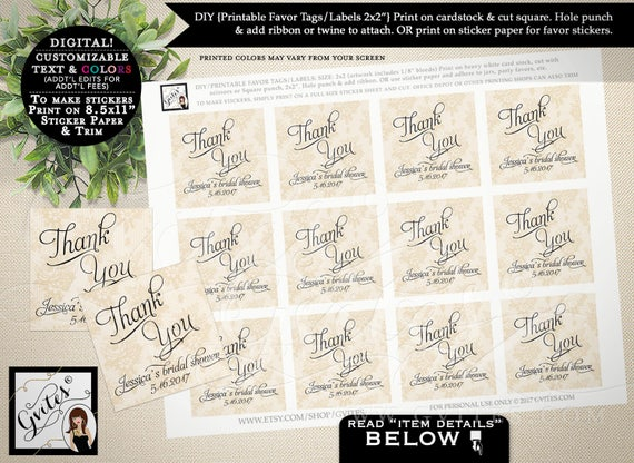"""Bridal SHOWER thank you tags, wedding favor tags, custom tags, gift tags, personalized, gift tags. PRINTABLE 2x2"""" 12/Per Sheet."""
