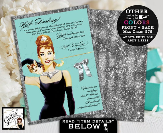 Breakfast at Tiffany's bridal shower Audrey Hepburn invitations silver and blue, turquoise blue and gold glitter, double sided 5x7.