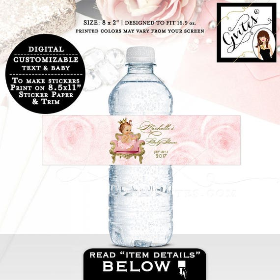 """Baby Shower Water Bottle Labels, pink and gold labels water stickers, bottle wrappers, party favors pink gold, customizable 8x2"""" 5 Per/Sheet"""