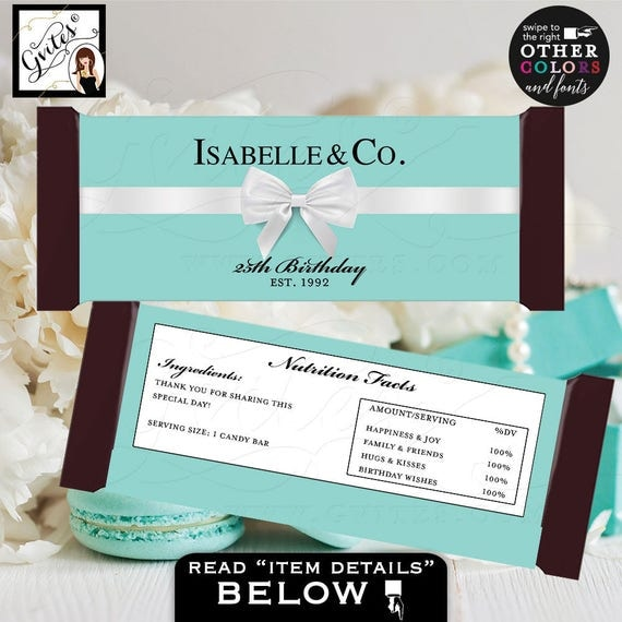 "Candy Bar Wrapper 25th birthday party favors, Breakfast at co blue labels Customizable 2 Per/Sheet 5.25x5.75"" {Realistic Satin Ribbon}"