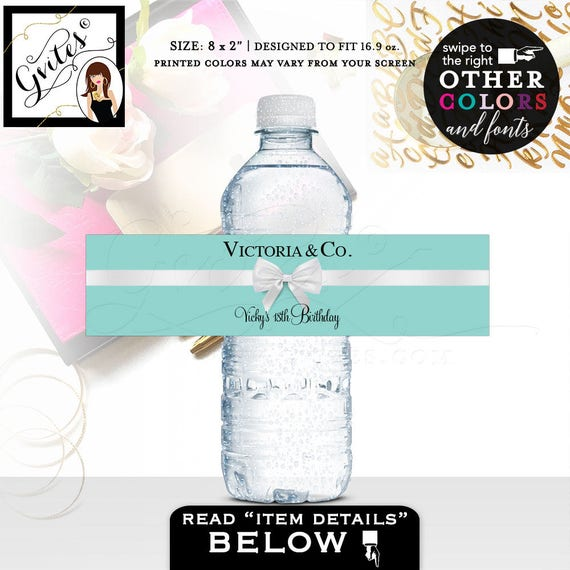 "Birthday & Co Water Bottle Labels 18th Birthday Labels Stickers breakfast at {REALISTIC SATIN RIBBON} 8x2""/5 Per Sheet. Digital File Only!"