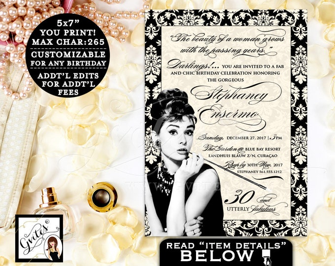 Breakfast at 30th BIRTHDAY Invitation, Custom invitations, personalized, customizable colors, ivory and black, PRINTABLE 5x7.