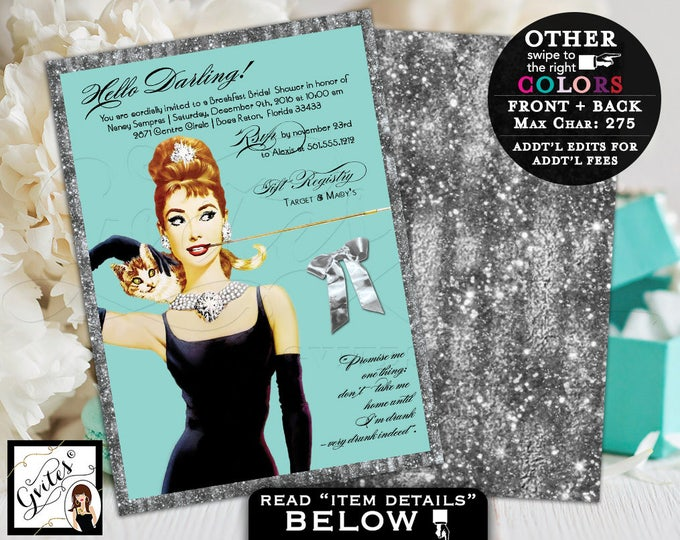 Breakfast at bridal shower Audrey Hepburn invitations silver and blue, turquoise blue and gold glitter, double sided 5x7.