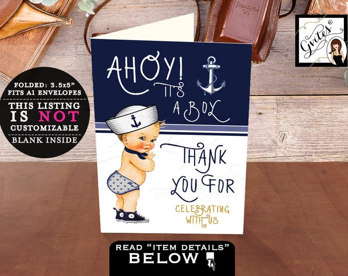 Thank you Cards Ahoy it's a boy, baby shower thank you cards, digital, printable, folded thank you, navy blue and white, little sailor.
