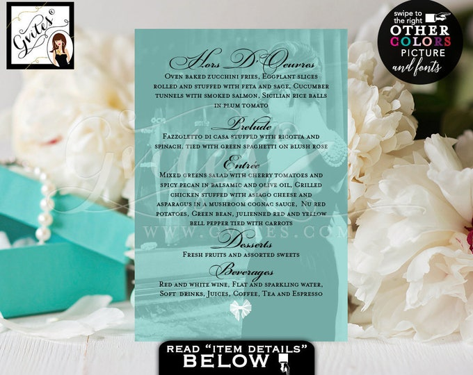 Breakfast at Tiffany's menu cards Audrey Hepburn inspired party bridal shower, birthdays, weddings, menu cards 4x6, digital file, Gvites.