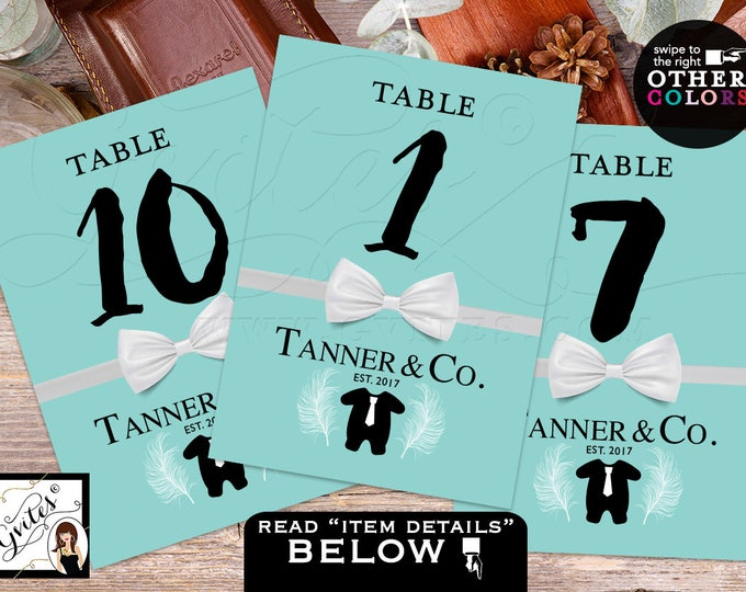 Baby and Co Table Numbers, decorations, Baby Shower, Baby and Co table numbers BOY tux bow tie, breakfast at. 4x6 or 5x7. DIGITAL FILE!