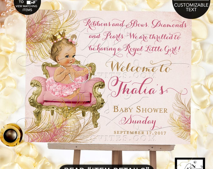 Blush Pink & Gold Welcome Sign, Baby Shower Princess Vintage Baby Girl, Gold Crown Printable, Diamonds Pearls #BSC1CBP