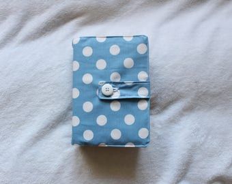 SALE - Medium/Regular LDS Scripture Cover in Blue with White Polka Dots. ONLY one available.