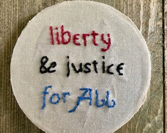 SALE! // liberty & justice for ALL // Hand-stitched Magnet // 3.25 inch